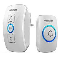 TECKNET Wireless Doorbell, Wall Plug-in Cordless Door Chime at 820-feet Range with 32 Chimes