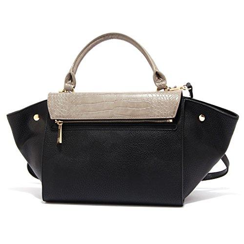 2855S borsa donna LUCKYLU doppia patta nero/beige a mano hand bag woman nero/tortora