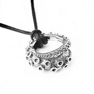 1pc Antique Silver 3d Octopus Pendant Necklace Ocean Jewelry Friendship Gift For Women And Men