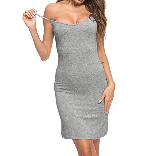Kurzen Schlaf Kleid (Maleya Minikleid Frauen beiläufiges festes V-Ansatz Bügel Kleid dünnes Schlaf Chemise Nightdress Elegant Kurz Blusenkleid Hemdkleid Shirt Kleid Oberteil Kleid Minikleid mit Gürtel)