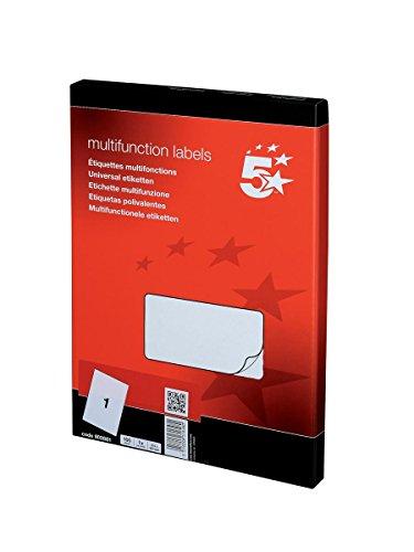 5 Star - Set de 100 etiquetas para fotocopiadora láser y de tinta (1 por hoja, 297 x 210 mm)