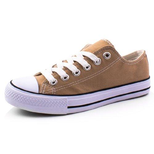 Damen Sneaker Low Top Schuhe Canvas Textil Khaki