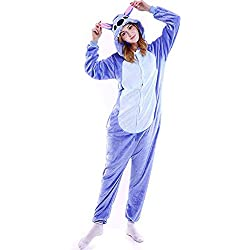 "Stitch Onesie Christmas Cosplay Disfraces de Halloween Use Pijamas de Animales para Adultos y Adolescentes (S (Height:147-157cm/57.8-61.8""), Blue Stitch)"