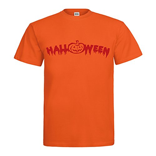 MDMA T-Shirt Halloween Schriftzug mit Kürbis N14-mdma-t00734-300 Textil orange / Motiv rot Gr. XXL