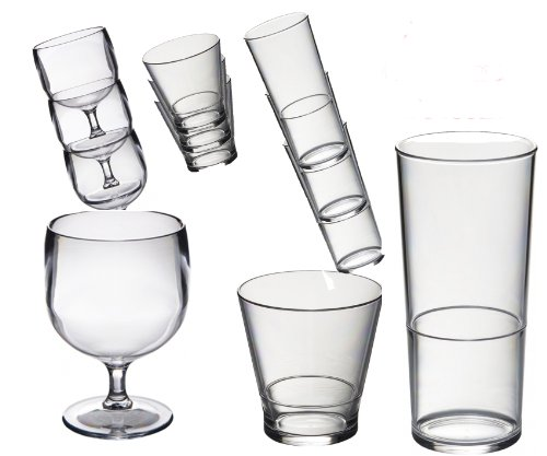 Roltex Lot de verres réutilisables et empilables en plastique polycarbonate incassable spécial 6 verres à vin empilables (220 ml), 6 verres à whisky/verres à jus empilables (250 ml), 6 verres empilables (450ml) Voir articles individuels pour Tailles et volumes exacts