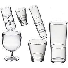 Speciale 18 Roltex impilabile in plastica in policarbonato, infrangibile, vetro riutilizzabili set. Impilabile 6 bicchieri di vino di 220 ml di capacità, 6 whisky impilabile/succo di frutta bicchieri 250ml di capacità, 6 nottolini impilabile 450ml di capacità