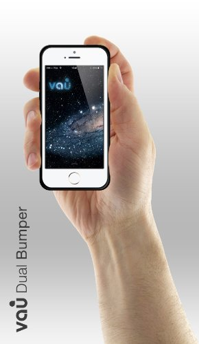 vau Dual Bumper - clear black - flexible Rahmen-Huelle, Tasche fuer Apple iPhone 5 & 5S schwarz & weiß