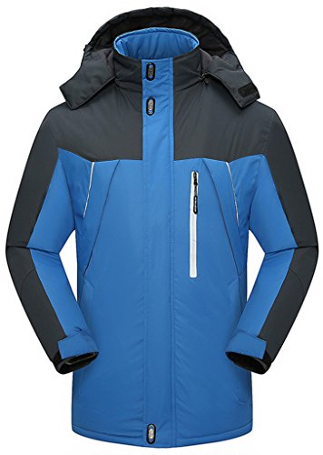 Sawadikaa Anorak Veste de Sport Coupe Vent Imperméable Veste Polaire Veste de Ski Randonnée Manteau Homme Bleu