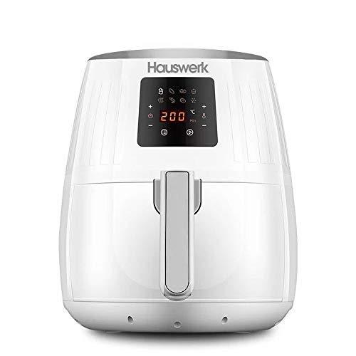 Hauswerk lf1 airfryer - friggitrice ad aria calda, display digitale, senza olio, facile da usare e pulire, per 2-3 persone, 3,5 litri, colore: bianco