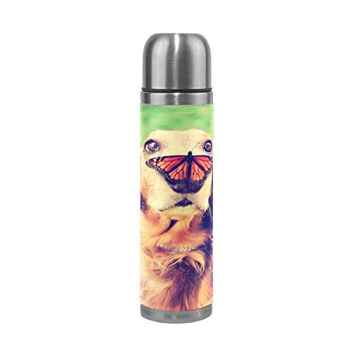 Alaza Golden Retriever Hund Schmetterling Wasser Flasche Edelstahl Vakuum Isoliert Thermoskanne 17Oz echtes Leder verpackt,