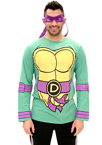 Kostüme Ninja Erwachsene Turtles (Teenage Mutant Ninja Turtles Long Sleeve Donatello Kostüm Erwachsene grün T-Shirt & Eye Mask)