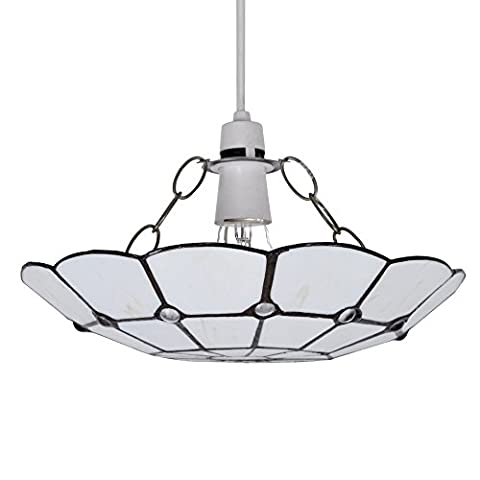 Tiffany Style White Stained Glass Cortez Jewel Ceiling Pendant Light