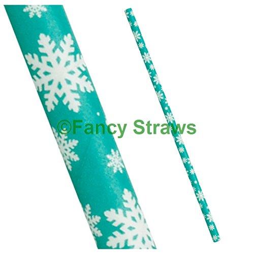 Pailles Papier Vertes avec Flocons de Neige Blancs Noël - Pack de 25