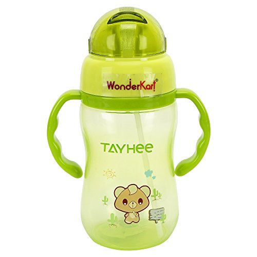 WonderKart® 350ML Cartoon Printed Kids Sipper Cum Water Bottle with Handle (Green)