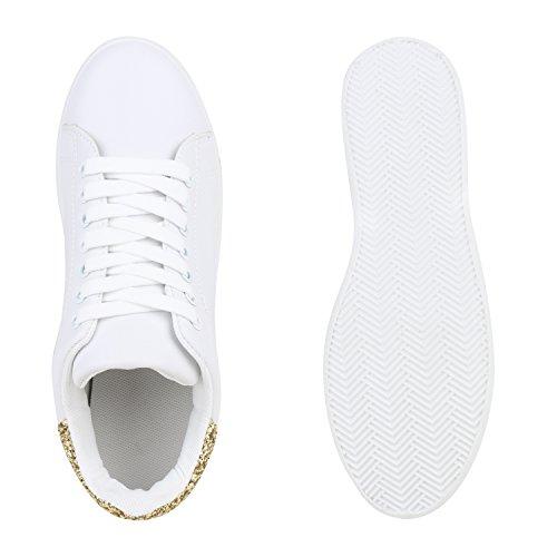Sportliche Damen Sneakers Sneaker Low Metallic Lack