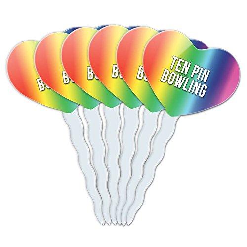 Rainbow Herz Love Set von 6Cupcake Picks Topper Dekoration I LOVE Herz Sport Hobby st-tu Ten Pin Bowling (Rainbow Bowling-pins)