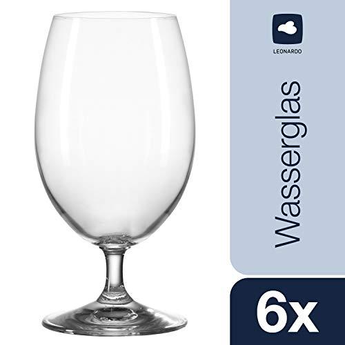 Leonardo Wasser-Glas Daily, Trink-Glas mit Fuß im Basic-Stil, spülmaschinenfestes Getränke-Glas, 6-teiliges Set, 063311