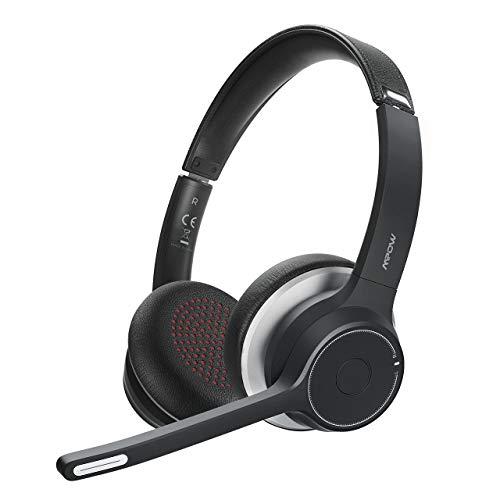 Mpow hc5 cuffie bluetooth con microfono, cuffie wireless per cellulari, cuffie trucker con durata della batteria 22 ore, cancellazione del rumore cvc 8.0,chiamate chiare per call center, ufficio