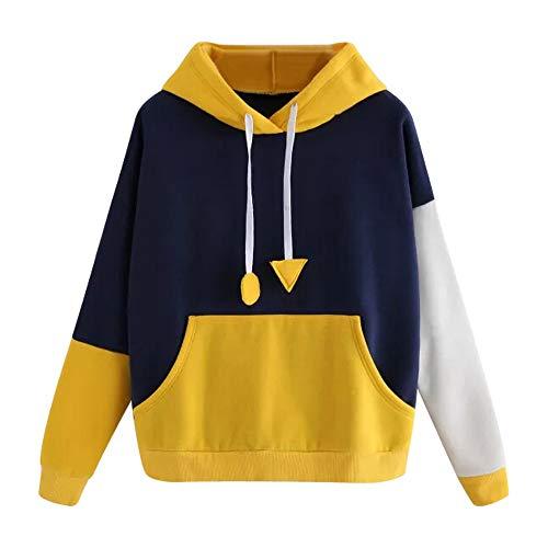 Hoodie Pullover Liusdh Aufgenähtes, warmes Pullover-Oberteil mit Kapuze und Kontrast zu den Langen Ärmeln(Yellow,L)