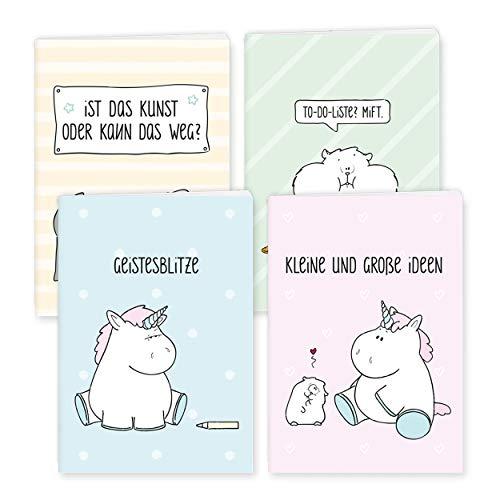 (Notizbuch DIN A6 4er Set Unicorn, Einhorn & Co, Bullet Journal weiße Seiten für Familie, Jugendliche, Teenager Mädchen, Scrapbook klein zum selbst gestalten, Notizblock)