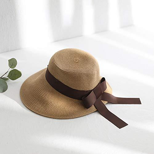 Koreanische Version der Moderiemenbogen großeHepou Ente Hut weibliche Sommer Falten Sonnencreme Strand Hut Khaki M (56-58 cm)