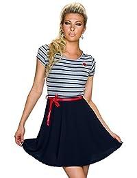 New Collection Damen Kurzarm Kleid Minikleid im Marine Look A-Linie mit Gürtel | Retro Look, Partykleid