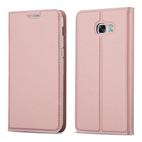 Cadorabo Hülle für Samsung Galaxy A5 2017 (7) - Hülle in ROSÉ Gold – Handyhülle mit Standfunktion und Kartenfach im Metallic Look - Case Cover Schutzhülle Etui Tasche Book Klapp Style
