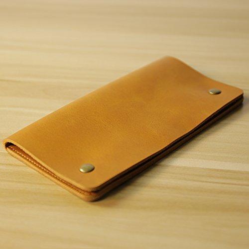 Mobile Wallet, Herren lange, dünne, mit Schnalle, Handtasche, Retro Leder, Handy Tasche, einfache Tasche, Braun Light brown