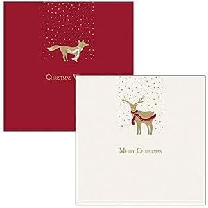 Portafogli–dieci biglietti di Natale–fantasie: Merry Christmas/Christmas Wishes