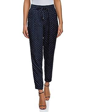 oodji Collection Mujer Pantalones con Elástico y Cordones