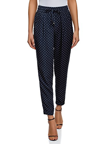 oodji Collection Mujer Pantalones con Elástico y Cordones, Azul, ES 38 / S