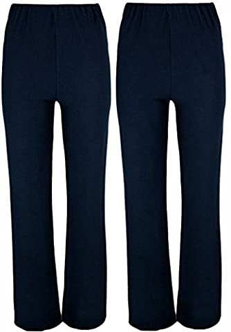 LADIES STRETCH PACK OF 2 FINELY RIBBED BOOTLEG TROUSERS SIZES 10-26, 3 LENGTHS (10 LONG, NAVY)