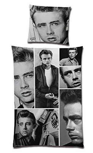 Bettwäsche James Dean Collage Bezug 135x200cm Kissen 80x80cm Renforcé 100%Baumwolle (James-dean-auto)