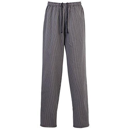 Premier - Pantaloni da Chef Girovita Elasticizzato - Unisex (M) (Nero/Grigio Righe)