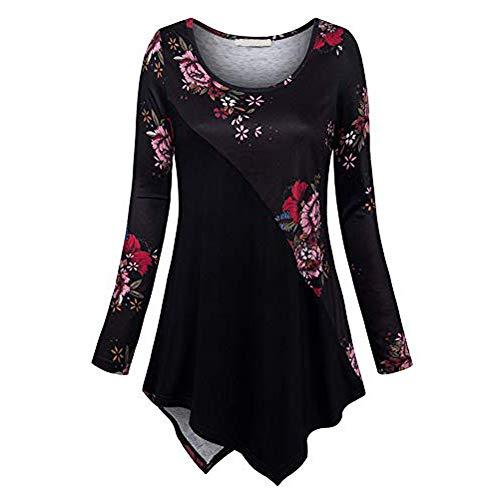 VEMOW Sommer Herbst Elegant Damen Oberteil Langarm O Neck Printed Flared Floral Beiläufig Täglich Geschäft Trainieren Tops Tunika T-Shirt...