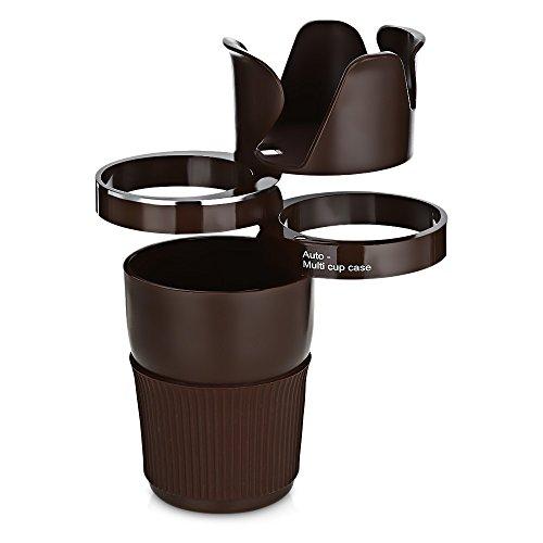HYXT 360 Grad drehbare Auto Multifunktionale Halter Cup 5 in 1 Auto Getränkehalter für Smartphone/Cup/Sonnenbrille/Karte/Kleine Zubehör Halter - Schwarz/Blau/Braun (Braun)