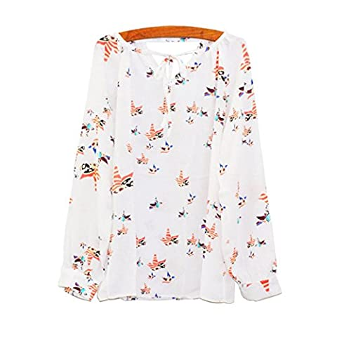 Chemises Femme, FeiTong Femmes Summer Casual manches longues Tether Blouse T-shirt floral chiffon (L)