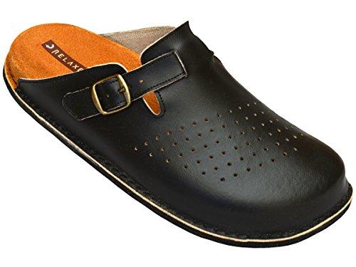 Relaxen Herren Arbeitsschuhe - Medizinische Clogs - Orthopädische Schuhe Schwarz&Weiß Modell MA04 (42, Schwarz)