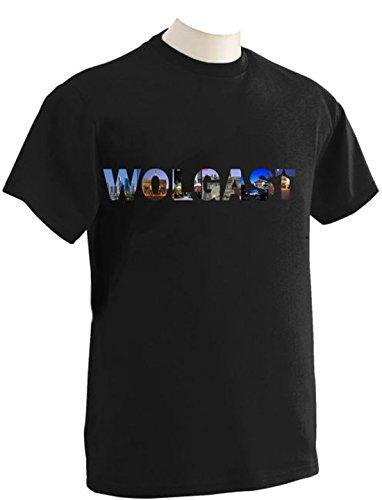 T-Shirt mit Städtenamen Wolgast Schwarz
