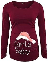 Ropa premamá Mujeres Lactancia Blusa de Maternidad Tops De Enfermería Camisa De Manga Larga Embarazadas Estampado de Navidad Otoño Invierno Gusspower