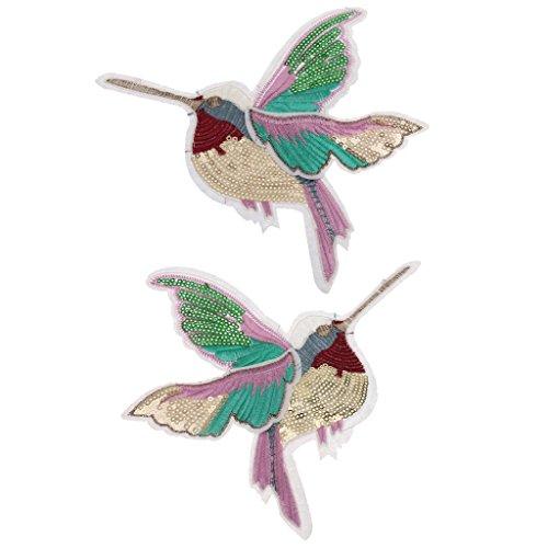 chiwanji Aufnäher, Kolibri, Bestickt, Pailletten, Stoff, 2 Stück - Kolibri-stoff