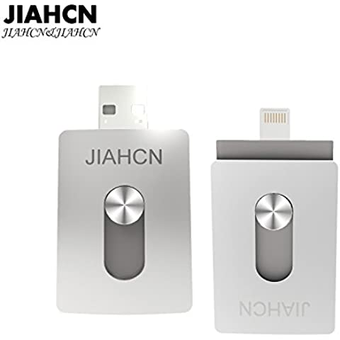 JIAHCN [Apple usb memoria] 2en1 USB Flash Drive memoria externa 16GB 32GB 64GB 128GB para Apple iPhone SE/5/5s/5c/6/6 Plus/6s/6s Plus/iPod touch 5/iPod nano 7/iPad Mini 1 2 3/ iPad 4/ Pro/ Air 1/ 2/Computadora Mac PC portátil