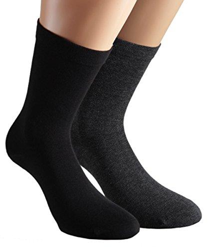 Vitasox 11120 Damen Socken Damensocken Baumwolle Gesundheitssocken extra weiter Schaft ohne Naht ohne Gummi 6 Paar Schwarz Anthrazit 39/42