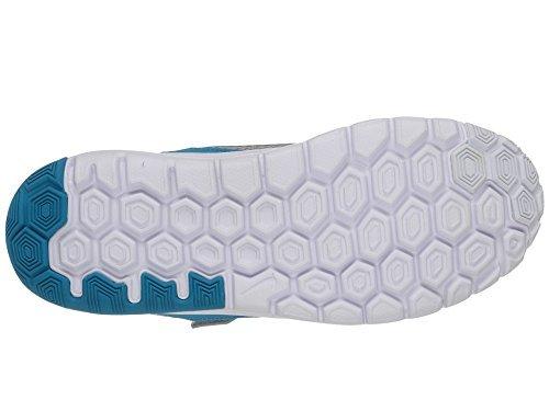 Nike Flex Experience 4 (Psv), Chaussures de Sport Fille, 16 EU Gris / argenté / bleu / blanc (gris loup / argenté métallique - lagon bleu - blanc)