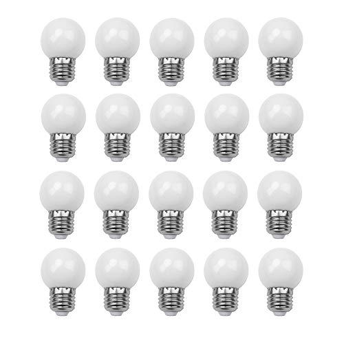 E27 G45 Ampoule LED 1.5W, Imperméable, Guirlande Lumineuse Intérieur et Extérieur pour Noël, Halloween, Décoration de Fête de Mariage, AC 220-240V, 20 Paquets