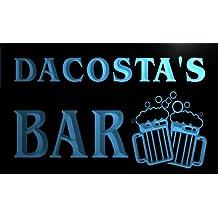 w006028-b DACOSTA'S Nom Accueil Bar Pub Beer Mugs Cheers Neon Sign Biere Enseigne Lumineuse