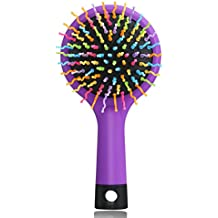 LEORX Cepillo para desenredar el pelo arco iris volumen Magic cepillo de pelo Curl recto cepillo peine con espejo (morado)