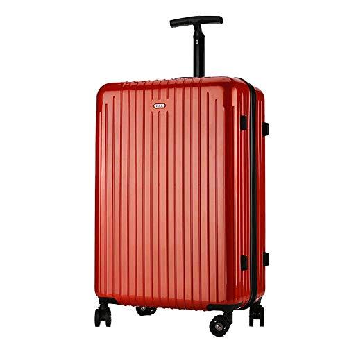 YUNY Koffer, ultraleichter Business-Trolley mit Transportgepäck Hartschalentasche Reisetasche PC Passwortschloss Gepäck Gr. 61 cm, rot - Polycarbonate Carry On