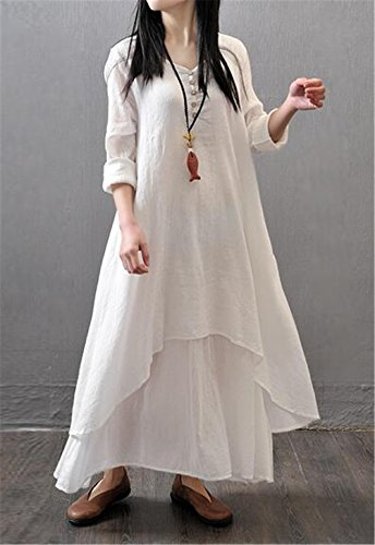 Femmes Rétro style chinois manches longues Fake 2PCS Loose Cotton Lin Long Dress Blanc