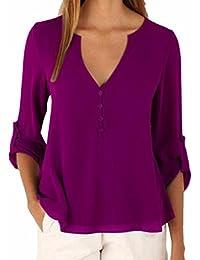 Entrega gratis Las mujeres de cuello en V manga larga botón color solido Plus Size tops ocio button Cuff Short gasa blusa camisa